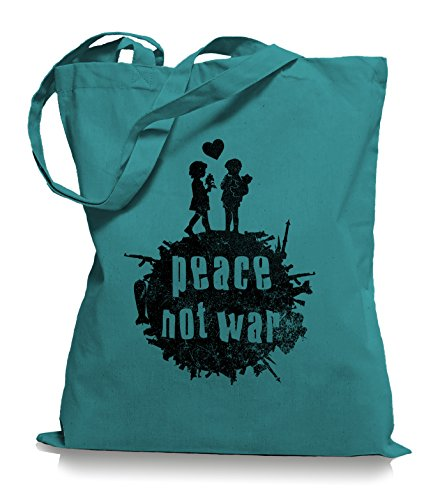 Ma2ca® Peace not War - Jutebeutel Stoffbeutel Tragetasche / Bag WM101 Emerald