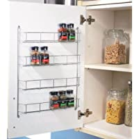 Top Home Solutions® 4 Tier Chrome Spice Rack Back Of Door Spice Jar Packet Holder