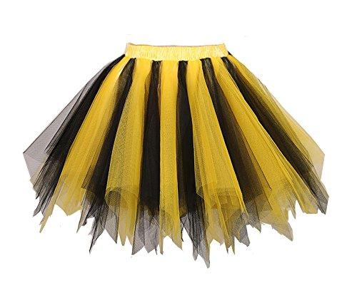 MuseverBrand 50er Vintage Ballet Blase Firt Tulle Petticoat Puffy Tutu Black/Gold Large/X-Large (Girl Black Dress Up)