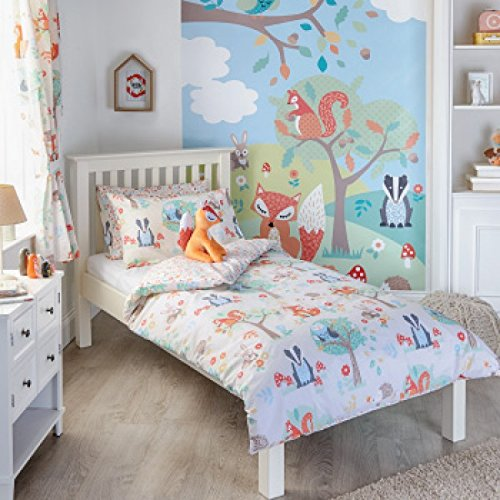 woodland-animals-single-quilt-duvet-cover-and-pillowcase-bedding-bed-set-kids-fox-squirrel-new-cream