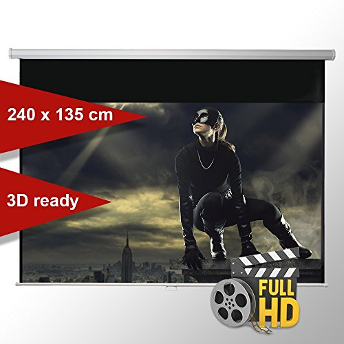 ivolum Rolloleinwand 240 x 135cm,Leinwand Format 16:9, Heimkino Leinwand, Beamerleinwand,3D Leinwand,Full HD Leinwand, Leinwand Beamer