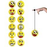 6x Returnball Yoyo Rückziehball Gesicht Gummiband Smiley 6 cm