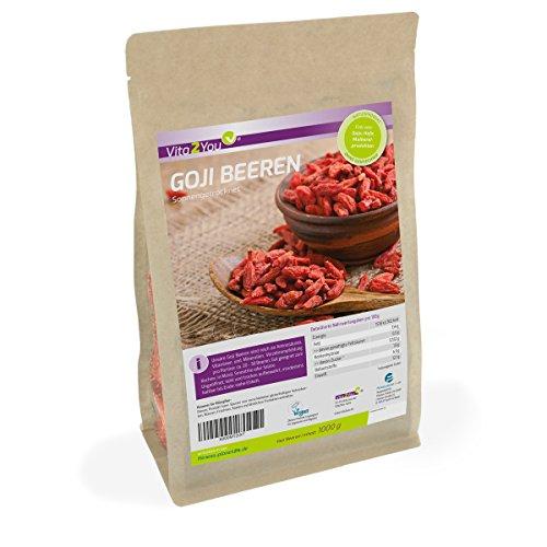 Goji Beeren 1kg Zippbeutel - Zertifiziert von DIPQ - Sonnengetrocknet - 1er Pack (1000g) - Premium Qualität