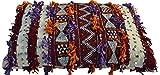 Vintage marokkanische Handarbeit Rot und Creme Kelim Sequinned Berber Kissenbezug (Gefüllt) mit Pom Poms- Hochzeit Kissen - Square W 70 L 34 H 10 cm