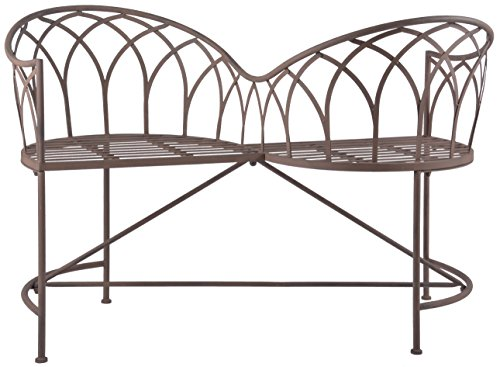 Esschert Design Tête-à-tête Bank aus Metall, 115 x 73 x 79 cm, Sitzbank, Gartenbank, 2 Sitzplätze, in klassischer Optik, sehr stabil
