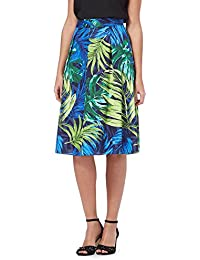 The Collection Blue Palm Leaf Print Prom Skirt