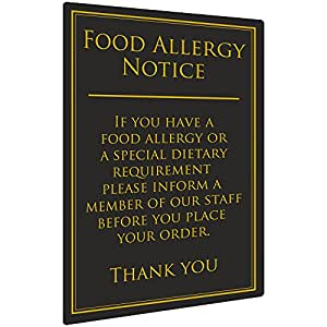 Food Allergy Notice 260 x 170mm - 1.5mm Plastic Wall Sign for Pubs and Restaurants