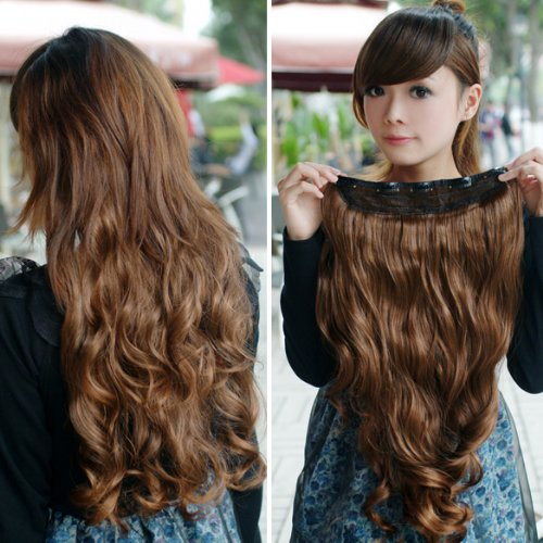 Rrimin Width 25cm Lady Sexy Long Curl Wavy Clip-on Hair Extension Light Brown
