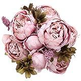 StarLifey Jahrgang Blumen Vintage Pfingstrosen Blumen-Bouquet Hochzeitsdekoration (Cameo Braun)