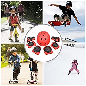 Kid's Skateboard Protective Gear Set, Roller Skating BMX Scooter Cycling Safety Pad Safeguard Gear Pads (Elbow Pads+Knee Pads+Wrist Guards+ Helmet) from EarthSafe