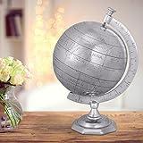 FineBuy GLOBUS Weltkugel 22 x 35 x 22 cm Aluminium Wohndekoration Silberfarben | Geschenk Einzug Wohnung Haus | Alu Globe Dekoration Wohnzimmer | Hochzeitsgeschenke Weihnachtsgeschenke | Reisen Deko