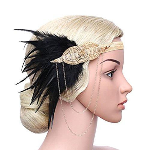 frcolor Womens Gatsby Kopfbedeckung ruggire 20S Stirnband Haar Haarspangen 1920s Kopfbedeckung Federn von Perlen Stirnband Champagne