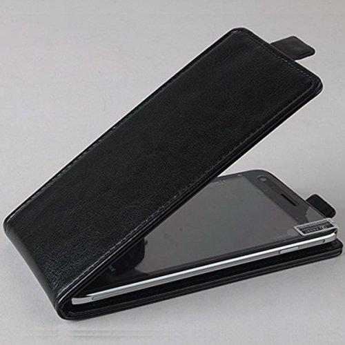 PREVOA ® 丨Flip PU Hülle Case Schutzhülle Tasche für OUKITEL K4000 Pro 4G LTE 5,0 Zoll Smartphone - (Schwarz)