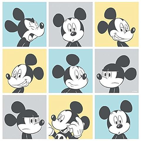 Official Disney Mickey Mouse Pop Art Muster Cartoon Kinder Tapete - Gelb Blau MK3013-2