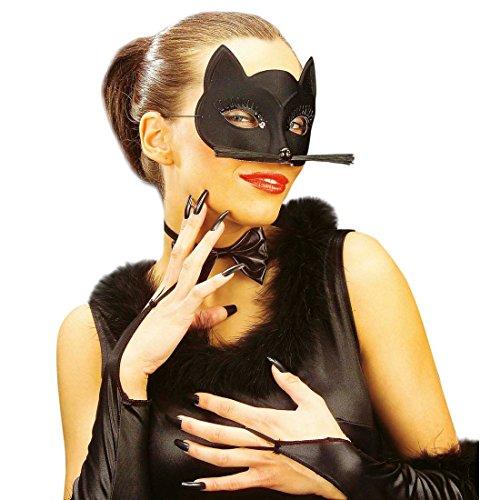 NET TOYS Schwarze Maske Katze Katzenmaske Augenmaske Katzen Augen Kätzchen Faschingsmaske Karnevalsmaske -