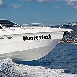 malango® Bootsaufkleber Bootsbeschriftung 2 Stück Wunschtext Bootsname Aufkleber Beschriftung Name Kennung 30 cm schwarz
