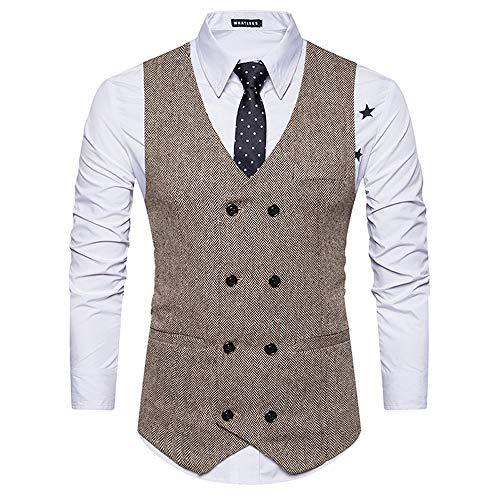 Männer Woolen Zweireiher Casual Slim Sleeve Verstellbare Zurück Schnalle Gürtel Anzug Vintage Weste,Brown,L (Männer Kleid-casual-weste Für)
