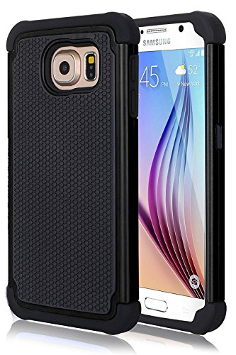 FDTCYDS Galaxy S6 Edge Hülle Defender Shockproof Drop Proof High Impact Rüstung Plastic & Silikon Hybrid Rugged HandyHülle Schutz Cover Hülle für Samsung Galaxy S6 Edge - Schwarz