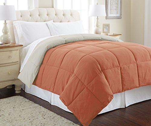 Pacific Coast Textiles Wende Daunen Alt Tröster, Polyester, Orange Rost/Oatmeal, Twin (Rost Twin Tröster)