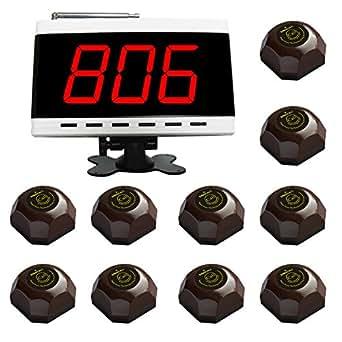 SINGCALL système d'appel sans fil, système d'appel de service, ce priduit comprend 1 hôte(APE9500), 10 appeleurs(APE560)
