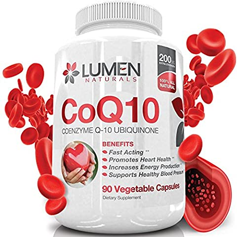 CoQ10 200mg - Fast Acting Extra Strength CoEnzyme Q10 Ubiquinone Supplement Shown to Promote Heart Health & Cellular Energy & Endurance to Fight Fatigue & Support Healthy Blood Pressure - 90 Capsules