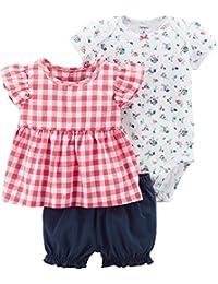 Carters Conjunto de 3 piezas de unicornio y pañal para bebé-niñas