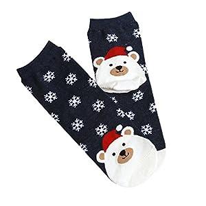 STYLEEA Weihnachtsfrauen-beiläufige Socken Süße Unisex Socken Mädchen Weihnachtssocken Weihnachtsmotiv Weihnachten Socken Festlicher Cotton Socken Christmas Socks