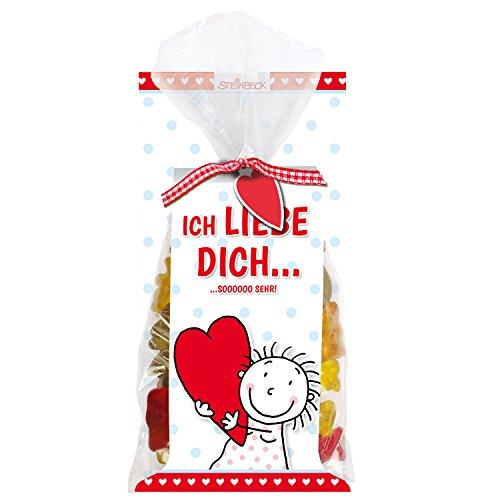 """Fruchtgummi LIEBE STEINBECK 100g """"Ich liebe Dich…sooooo sehr"""" Geschenk Valentinstag love Herzen Freund Freundin rot Liebe süß Mitgebsel Jahrestag"""