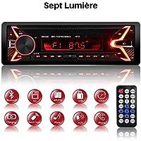 Autoradio Bluetooth, 1 Din Poste Radio Voiture, 7 Couleurs d'éclairage FM/AM/MP3/SD/USB Multimédia Bluetooth Player + Télécommande