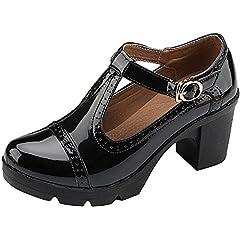 38dcc45f42 DADAWEN Women's T-Strap Platform Court Shoes Mid Heel Mary Ja .