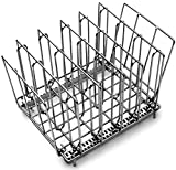 LIPAVI Sous Vide Rack - Model L10, Stainless Steel, Square 7.8 X 6.4 Inch, Height 6.6 Inch. Adjustable, Collapsible, Ensures even and quick warming with Sous Vide Cooking. Fits in the LIPAVI C10 polycarbonate water bath in combination with Anova, Nomiku, Sansaire and Polyscience Chef by LIPAVI