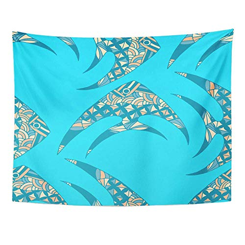 AOCCK Wandteppiche Wall Hanging Blue Tropical Fish with Colorful in Comic Sea for Chintz Swimwear Bright Simple Deep 60