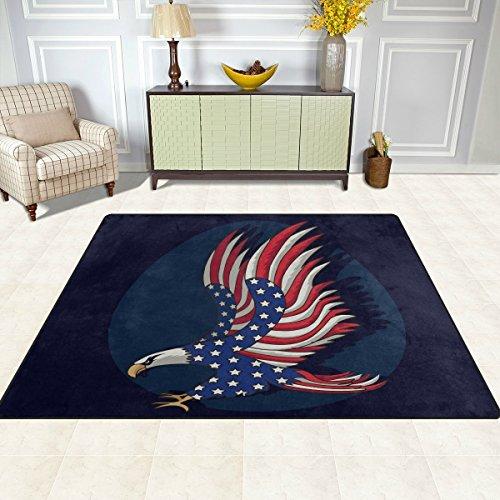 S&Y Teppiche Teppich Matte 4'x5', Tier Adler amerikanische Flagge Polyester rutschfeste Wohnzimmer Esszimmer Schlafzimmer Teppich Eingang Fußmatte Home - Adler-raum-dekor