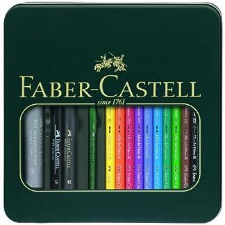 Faber-Castell 117540 – Pack de 10 ecolápices acuarelables, 1 pincel y 3 rotuladores, multicolor
