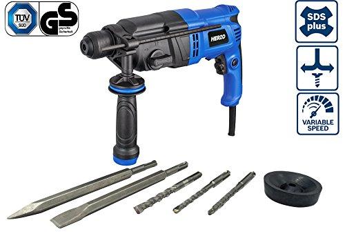 HERZO Bohrhammer 900W 3.0 J mit Bohrer+Meissel 5 Stk SDS-Plus (bis 26 mm Bohr-Ø) Tiefenanschlag, Zusatzhandgriff, Koffer, Staubschutzkappe (Mit Bohrer Spielzeug)