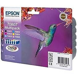 Encre d'origine EPSON Multipack Colibri T0807 : cartouches Noir, Cyan, Magenta, Jaune, Cyan clair, Magenta clair Amazon Dash Replenishment est prêt