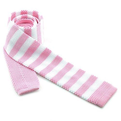 Nœud Papillon PENSEE Casual Homme Motif à rayures moderne 5,5cm slim Skinny tie-various en tricot couleurs Rayé Rose/blanc