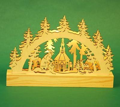 """LED Tisch - Schwibbogen Lichterbogen Leuchter """"Seiffener Kirche"""" aus Holz ca. 23 cm breit Weihnachten Advent Geschenk (20084)"""