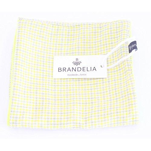 BRANDELIA Halstuch Loop Schal Fular Tuch Kariert. Farbenfrohes Mode Accesoire mit Liebe hergestellt in kleinen Mengen in Spanien, limitierte Edition. Ideal auch als Geschenk für Frauen. Kleine Quadrate gelb beige, Innenseite gelb