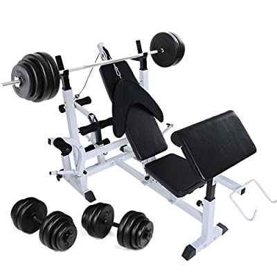 Physionics® HNTLB05-SET1 Weight Bench+30kg Dumbbell +60kg Barbell, 7-position backrest,4-position leg press by Physionics®