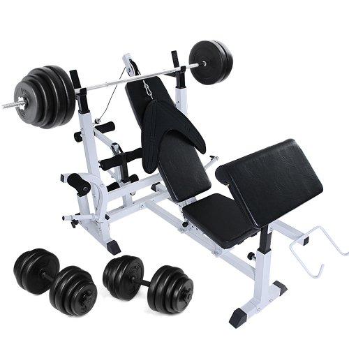 Physionics - Banc de Musculation Multifonction avec Haltère Long (60 kg) et 2 Haltères Courts (30 kg)