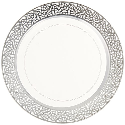 Decorline- Vaisselle de luxe à usage unique-Transparent avec bord en dentelle argenté-plastique rigid-Party-Jetable (Assiette 19Cm)