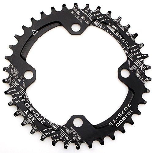 CYSKY 38T Schmale Breite Kettenblatt 104 BCD Einzelkettenblatt mit 9 10 11 Geschwindigkeit für Rennrad Mountainbike BMX MTB (Schwarz)