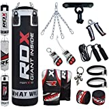 RDX 13 Piece Boxing Set 4FT 5FT Filled Heavy Punch Bag Gloves Ceiling Hook Chains MMA Punching Bags Training
