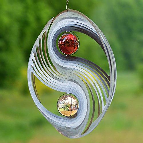 Edelstahl Windspiel - YINYANG 300 - Abmessung: Ø30cm, Kugeln: 2xØ5cm - mit Glaskugeln, Kugellagerwirbel, Haken und 1m Nylonschnur - (Yin Yang 300)