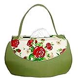Lindgrüne Handtasche mit Rosen - Bezug für Taschentuchschachtel oder Kosmetiktuchbox - Handgearbeitet