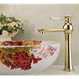 Grifo Genérico LifestylllTM mango cerámico es dorada arriba contador orificio único Grifo lavabo grifo #L4207