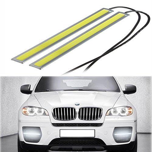 Eximtrade 2 Stück Wasserdicht Aluminium 6W 6000K Xenon COB LED DRL Tageslicht Fahren Tagfahrlicht DRL Lampe für Auto SUV Limousine Coupe Fahrzeug (Weiß, Silbergehäuse)