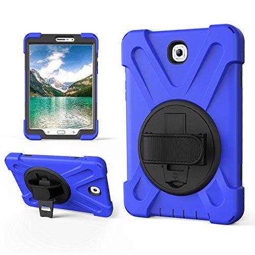 Samsung Galaxy Tab S2 Hülle 8.0 silikon, Samsung Galaxy Tab S2 8.0 Hülle Case T710, Nnopbeclik dreilagig Heavy Duty Soft Silikon Hard Bumper Case Eingebauter Ständer + Handschlaufe + Schultergurt Stoßfest Langlebig Robuste Samsung Galaxy Tab S2 8.0 Schutz - blau