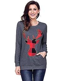 Joansam Christmas Plaid Deer Print Abdomen Pocket Sweatshirt